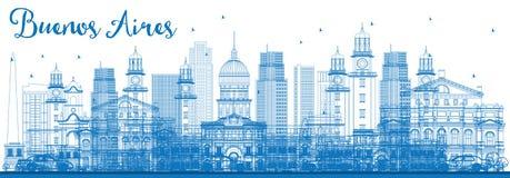 Horizon de Buenos Aires d'ensemble avec les points de repère bleus illustration libre de droits