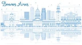 Horizon de Buenos Aires d'ensemble avec les points de repère bleus et les réflexions illustration stock