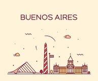 Horizon de Buenos Aires, ville linéaire de vecteur de l'Argentine illustration libre de droits