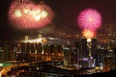 Horizon de Busan avec des feux d'artifice image stock