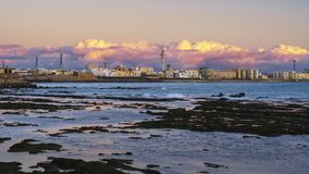 Horizon de Cadix sous des cumulus Andalousie Espagne Images libres de droits