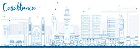 Horizon de Casablanca d'ensemble avec les bâtiments bleus illustration stock