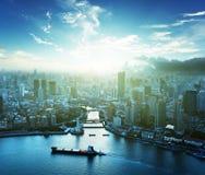 Horizon de Changhaï au coucher du soleil Photo stock