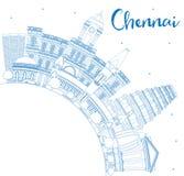 Horizon de Chennai d'ensemble avec les points de repère et l'espace bleus de copie illustration de vecteur