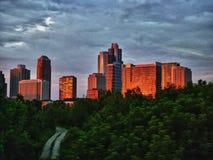 Horizon de Chicago au coucher du soleil Images libres de droits