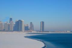 Horizon de Chicago en hiver Photos stock