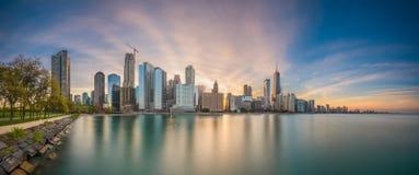 Horizon de Chicago, l'Illinois, lac des Etats-Unis photographie stock libre de droits