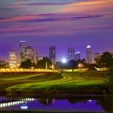 Horizon de coucher du soleil de Houston du Texas USA photos stock