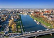 Horizon de Cracovie dans l'automne Images stock