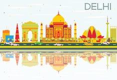 Horizon de Delhi avec les bâtiments de couleur, le ciel bleu et les réflexions illustration stock
