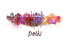 Horizon de Delhi dans l'aquarelle illustration libre de droits