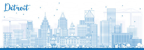 Horizon de Detroit d'ensemble avec les bâtiments bleus illustration de vecteur