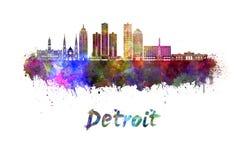 Horizon de Detroit dans l'aquarelle illustration de vecteur