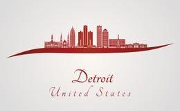 Horizon de Detroit en rouge illustration stock