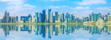 Horizon de Doha de banni?re image stock