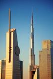 Horizon de Dubaï au lever de soleil Photo stock