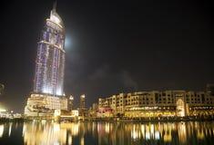 Horizon de Dubaï la nuit, EAU Photographie stock libre de droits