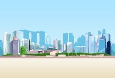 Horizon de fond de gratte-ciel de vue de ville de Singapour illustration de vecteur