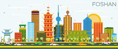 Horizon de Foshan Chine avec les bâtiments de couleur et le ciel bleu illustration libre de droits