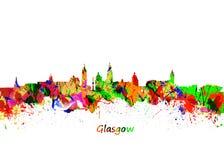 Horizon de Glasgow Watercolor Photographie stock