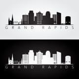 Horizon de Grand Rapids Etats-Unis et silhouette de points de repère illustration de vecteur