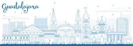 Horizon de Guadalajara d'ensemble avec les bâtiments bleus Photo libre de droits
