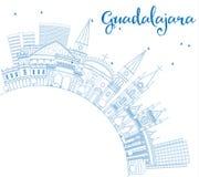Horizon de Guadalajara d'ensemble avec les bâtiments et l'espace bleus de copie Images stock