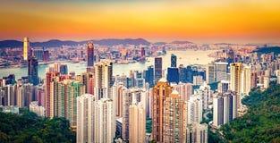 Horizon de Hong Kong au coucher du soleil Panorama image libre de droits