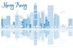 Horizon de Hong Kong d'ensemble avec les bâtiments bleus illustration de vecteur