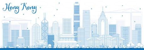 Horizon de Hong Kong d'ensemble avec les bâtiments bleus illustration libre de droits