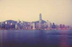 Horizon de Hong Kong pendant le matin Photo stock