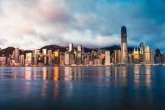 Horizon de Hong Kong pendant le matin Photo libre de droits