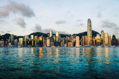 Horizon de Hong Kong pendant le matin Images libres de droits