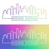 Horizon de Hong Kong Style linéaire coloré illustration stock