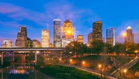 Horizon de Houston Texas au crépuscule photos stock