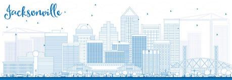 Horizon de Jacksonville d'ensemble avec les bâtiments bleus Images stock