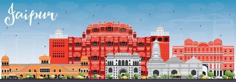 Horizon de Jaipur avec les points de repère de couleur et le ciel bleu