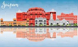 Horizon de Jaipur avec les points de repère de couleur, le ciel bleu et les réflexions illustration de vecteur