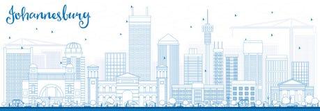 Horizon de Johannesburg d'ensemble avec les bâtiments bleus Photo stock