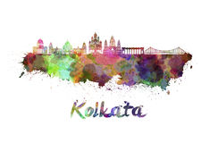 Horizon de Kolkata dans l'aquarelle Photo stock