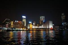 Horizon de Kowloon la nuit Photographie stock