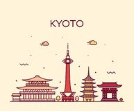 Horizon de Kyoto, ville linéaire de style de vecteur du Japon illustration stock