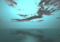 Horizon de l'aurore - coucher du soleil de sarcelle d'hiver au-dessus de l'horizon de mer Image stock