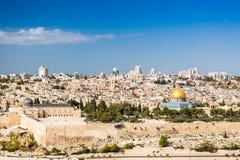 Horizon de la vieille ville chez l'Esplanade des mosquées à Jérusalem, Israël Images stock