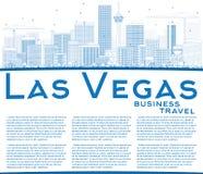 Horizon de Las Vegas d'ensemble avec les bâtiments et l'espace bleus de copie illustration de vecteur