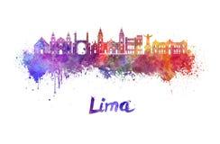 Horizon de Lima dans l'aquarelle Photographie stock libre de droits
