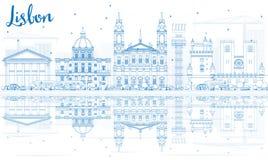 Horizon de Lisbonne d'ensemble avec les bâtiments bleus et les réflexions illustration stock