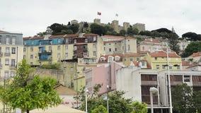 Horizon de Lisbonne, Portugal vers le sao Jorge Castle banque de vidéos