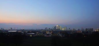 Horizon de Londres vu du stationnement de Greenwich Image libre de droits