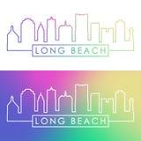 Horizon de Long Beach Style linéaire coloré illustration stock